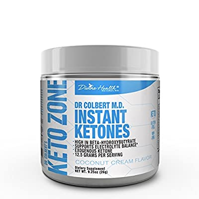 Keto Zone Instant Ketones Powder (Coconut Flavor) - 12 Grams BHB per scoop (Beta Hydroxybuturate) (21 Servings) Plus Electrolytes - Recommended in Dr. Colbert's Keto Zone Diet