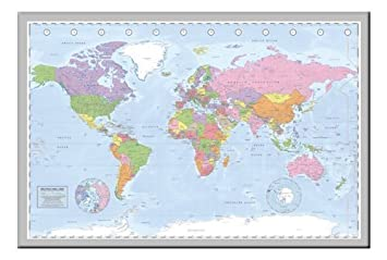 Amazon iposters political miller world map pin board framed in iposters political miller world map pin board framed in silver wood includes 100 pins 965 gumiabroncs Image collections