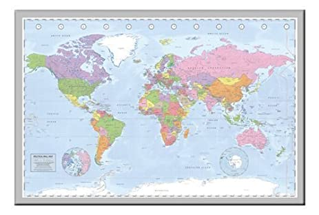 Amazon iposters political miller world map pin board framed in iposters political miller world map pin board framed in silver wood includes 100 pins 965 gumiabroncs Images
