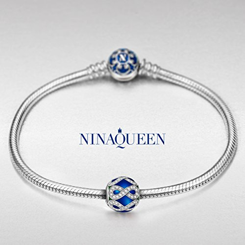 "NinaQueen ""Forever Love""925 Sterling Silver Dark Blue White CZ Round Bead Charms"