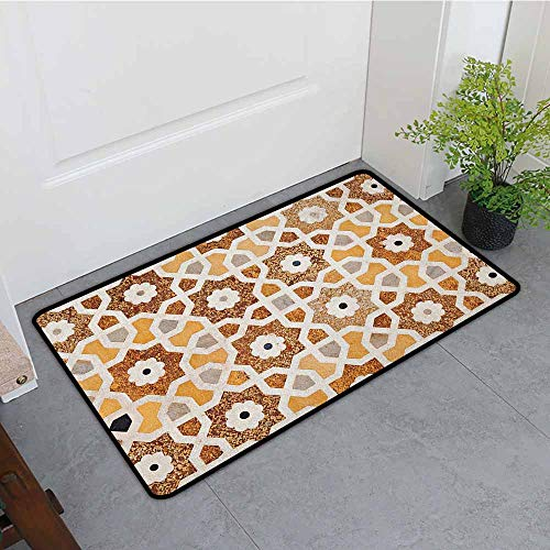 Antique Indoor Super Absorbs Mud Doormat Detail of Inlay and Geometric Carvings Asian Taj Mahal Tomb Architecture Anti-Fading W35 x L47 Cream Orange Brown