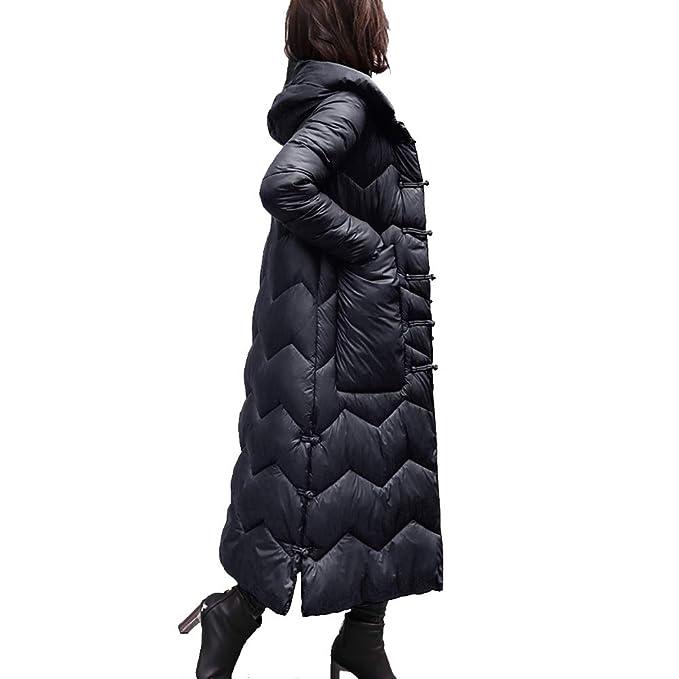 Mishuo Abrigo Acolchado Mujer Invierno Algodón Caliente Elegantes Abrigos Chaquetas Largos Universitarias Moda Trench Parka Suelto