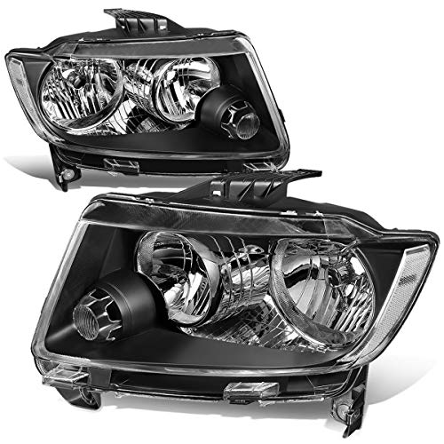 For 11-13 Jeep Grand Cherokee WK2 Pair Black Housing Clear Corner Front Bumper Headlight/Lamps ()