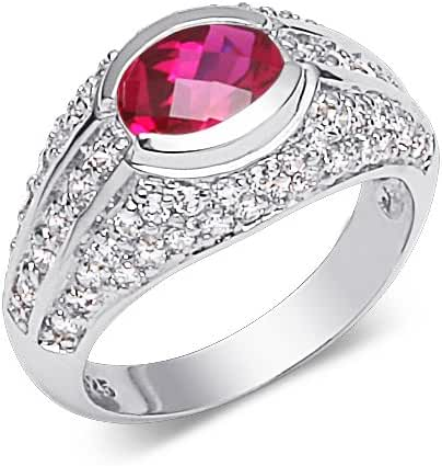 Created Ruby Ring Sterling Silver Rhodium Nickel Finish Oval Shape 1.50 Carats Size 8
