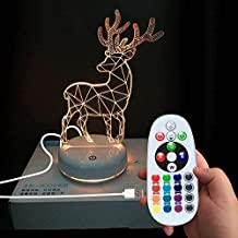 DONJON Baby Night Light Rechargeable Cute Nursery Nightlight, LED Sleep Night Lamp, Wireless Remote Control 16 colors for Children, New Mother, Nursery Room- (light-deer)