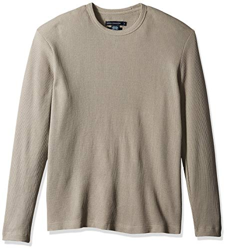 French Connection Men's Long Sleeve Waffle Jersey Crew, L/Sample Morning Dove, M