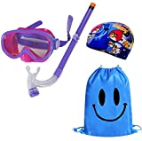 Kid Snorkel Set Silicone Scuba Child Swimming Snorkeling Mask Glasses with Anti Fog Goggles Diving Swim Cap Swim Bag for Boys and Girls
