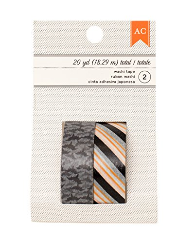 American Crafts Halloween Black & Orange Stripe & Bats Washi Tape, 20 yd