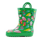 #3: Lone Cone Children's Waterproof Rubber Rain Boots in Fun Patterns with Easy-On Handles Simple For Kids