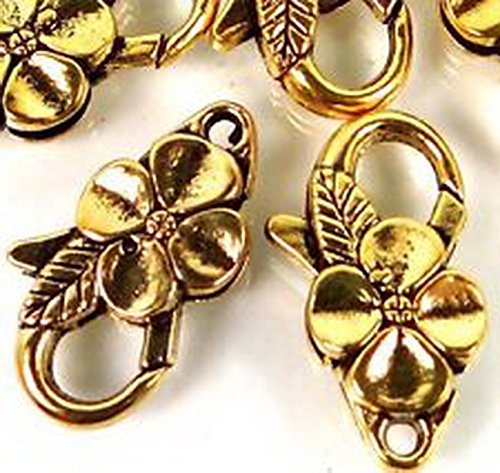 [Burts Beads - 25x14mm Large Antique Gold Pewter Flower Lobster Claw Clasps 5 beads Lead-Free] (Lobster Costume Pattern)