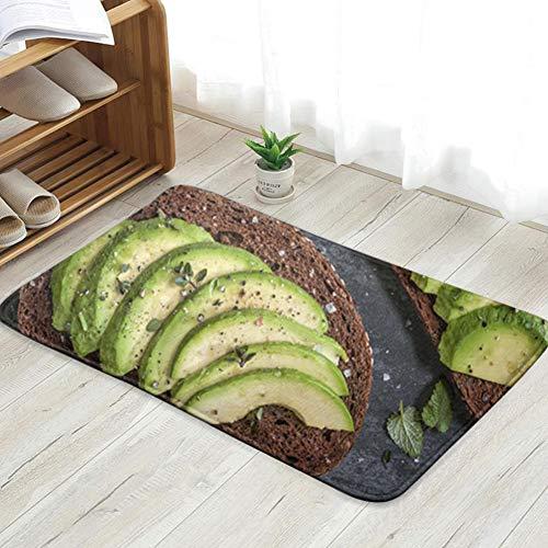 Avocado Sandwich On Dark Rye Bread Food and Drink Personalized Custom Doormats Indoor/Outdoor Doormat Door Mats Non Slip Rubber Kitchen Rugs 23.6 X 15.8 Inch