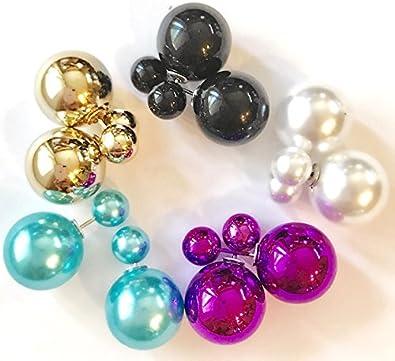 Pearl ball double sided chain earrings