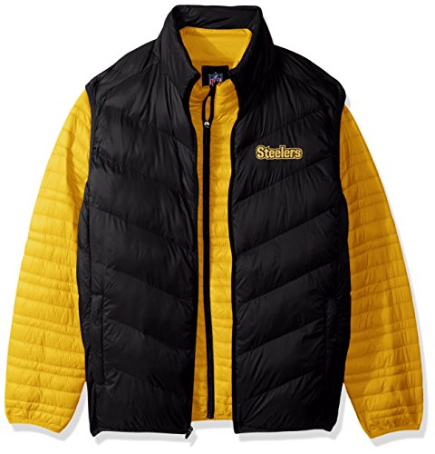 G-III Sports NFL Pittsburgh Steelers Three and Out 3-in-1 Systems Jacket, Medium, Gold/Black (G-iii Jacket Mens)