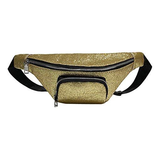 Lonshell Leather Bumbag Waist Bag Bling Sequins Sling Chest Bag Shoulder Bag Adjustable Belt Classic Travel Hip Bum Bag Zipper Fanny Pack Funky Holiday Storage Pockets Gold