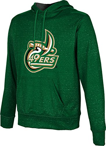 University of North Carolina at Charlotte Men's Pullover Hoodie, School Spirit Sweatshirt (Heather) FC5B2 Green and Light Gray (Charlotte, North Carolina, Fashion)