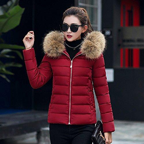 Slim Chaude Doudoune Manteau Wealsex Hiver Grande Femme 4XL Coton Veste Blouson Court Taille Fourrure Capuche Bordeaux a XL Femme 5XL XXL 3XL 0pxqw7B4x