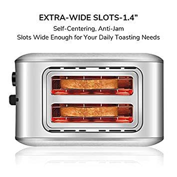 Toaster 2 Slice, CUSINAID Compact Stainless Steel Toaster Wide Slots with 7 Bread Browning Settings, REHEAT DEFROST CANCEL Function, Silver