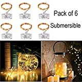 ZG&HY 6 Pack 7Ft 20LED Submersible Warm White Copper Fairy Starry String Twinkle Lights, CR2032 Battery Operated (Include), for Wedding Centerpiece or Table Decorations, Party, Christmas ¡­