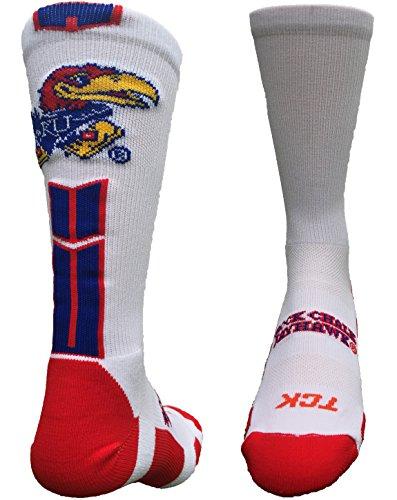 Kansas Jayhawks Baseline 3.0 Crew Socks (White/Blue/Crimson, Large)