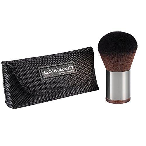 CLOTHOBEAUTY Pro Makeup Kabuki Powder Brush, Applying Loose/Compact Powder, Blush, Small Size with Travel Pouch by CLOTHOBEAUTY