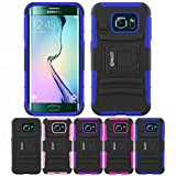 Galaxy S6 Edge Case, HLCT Rugged Shock Proof Dual-Layer PC and Soft Silicone Case With Built-In Kickstand for Samsung Galaxy S6 Edge (2015) (Blue)