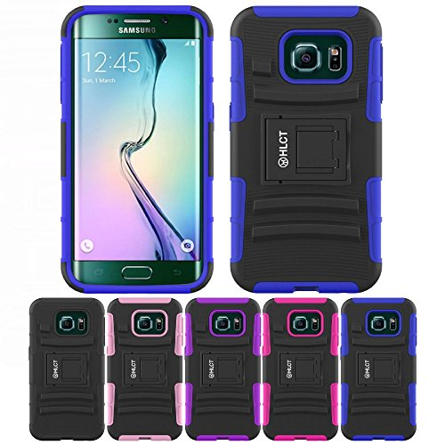 Galaxy S6 Edge Stand Case, HLCT Rugged Shock Proof Dual-Laye