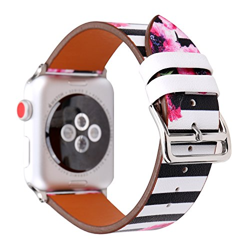 MeShow TCSHOW 42mm Classic Black White Stripe Floral Style Strap Wrist Band Silver Metal Adapter Compatible Apple Watch Series 3 2 1(Not fit 38mm Apple Watch) (F)
