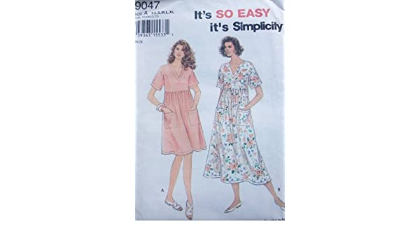Amazon.com: Simplicity 9047 Misses Pullover Dress in 2 Lengths, Size A 6/8, 10/12, 14/16, 18/20, 22/24: Arts, Crafts & Sewing