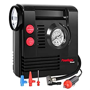 PowRyte Basic Compact Portable Tire Inflator with Built-in Flashlight - 12 Volt DC Air Compressor