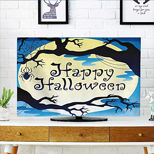 Auraisehome tv Protective Cover Collection Happy Halloween Quote Spooky Night Moon and Branches Shadows Haunted Lights Yellow tv Protective Cover W35 x H55 INCH/TV 60