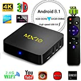 Yongf Android 8.1 TV Box, MX10 4G 32G Android 8.1 TV BOX Smart 4K TV RK3328 Quad Core 2.4G 5G Wifi Set Top Boxes Support 3D 4K Ultra HD TV
