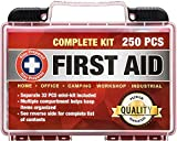 Stay Prepared 250-Piece First Aid Kit: 2-in-1 for Home, Office, Camping, Car, School, Emergency, Disaster, Travel, Wilderness Survival, Hiking, Boating, Hunting, and Sports; 2-in-1 Adventure Medical Kit, Including Survival, Trauma, Gauge and CPR Supplies, a 32-pcs Bonus Pack in a Separate Bag and a Safety Hammer
