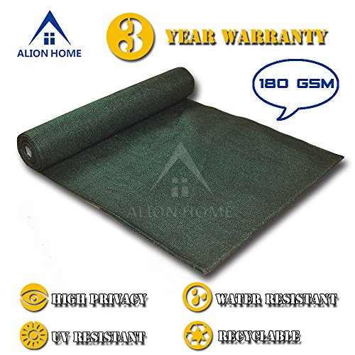 ALION HOME HDPE Shade Fabric Cloth 95 UV Block. 5 x 26 Dark Green