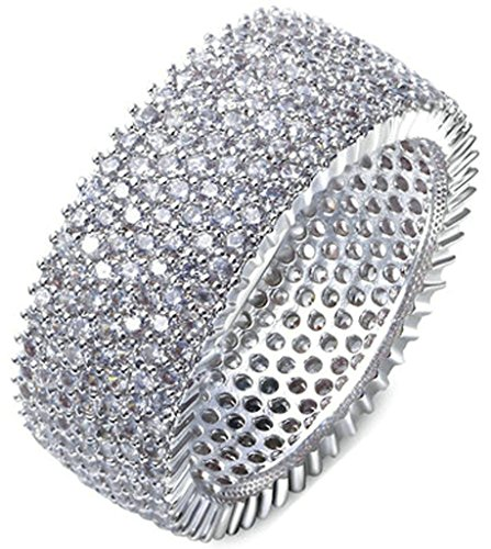 Gnzoe Jewelry, Silver Plated Womens Wedding Ring Round Cubic Zirconia Simple Classic (Hidden Rivet Round Ring)