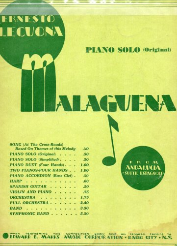 Ernesto Lecuona Piano Solo (Original): MALAGUENA (Vintage Sheet Music) (From the Spanish Suite