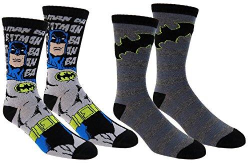 [Batman Mens Casual Crew Socks 2 Pair Pack,black,onesize] (Batman Dress Socks)