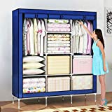 House of Quirk 66inch Portable Wardrobe stainless steel Cloth Closet Organizer Storage with Cover and Clothes Rods Durable Sturdy shelves(Blue)