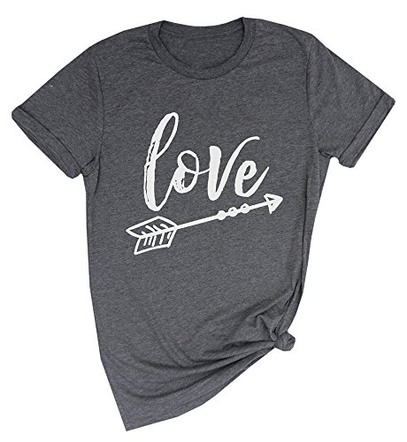 Womens Valentines Day Love Print Short Sleeve Crewneck Loose Letter T-Shirt Tops