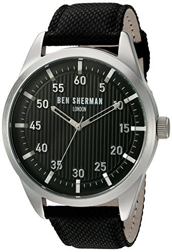 Ben-Sherman-Mens-Portobello-Professional-Quartz-Stainless-Steel-and-Leather-Automatic-Watch-ColorBlack-Model-WB028BA