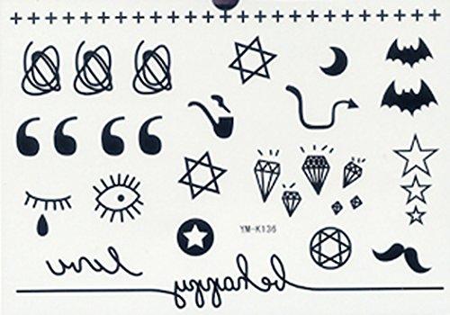 [GRASHINE waterproof non toxic long last fake and realistic temporary tattoos stickers stars, moons, diamonds, eyes, bats,] (Fake Beards That Look Real)