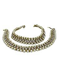 Banithani Goldtone Traditional Indian Pearl Barefoot Ankle Bracelet Jewelry