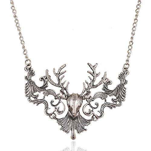 Kangkang@ Exaggerated Vintage Punk Deer Collier Hollow Metal Maxi necklace Christmas Elk Reindeer Bronze Horn Statement necklace for women (Silver)