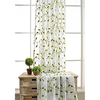 Amazon Com Elleweideco Modern Embroidered Green Leaf