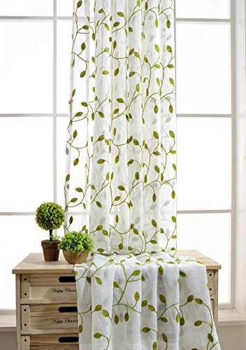 TIYANA Ivy Leaf Embroidered Sheer Panels Window Crushed Sheer Gauze Curtain Panels Rom Curtain Door Screen Curtain Voile Tulle Drapery Rod Pocket, 1 Panel, Green Leafs White Sheer, W40 x L84 (Ivy Curtain)