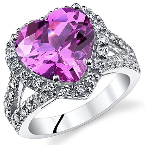 - 5.00 Carats Heart Shape Created Pink Sapphire Ring Sterling Silver Size 8