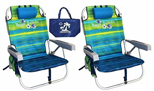 Tommy Bahama Backpack Beach Chairs with One Medium Tote Bag - Pack of 2 - Green by Tommy Bahama
