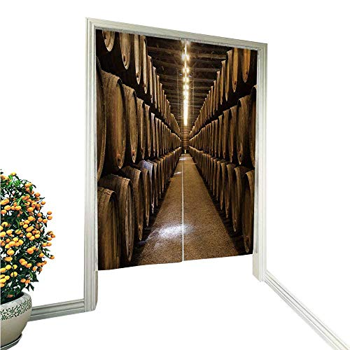 aolankaili Japanese Style Noren Door Curtainbarrels in The Wine Cellar Porto Portugal Tapestry Cotton Linen Curtain Blind 33.5