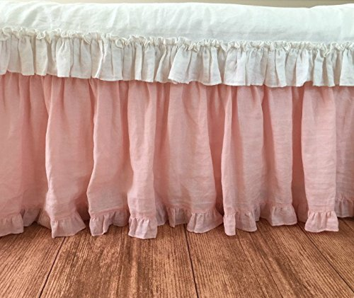 Pink ruffled bed skirt w. ruffle border, shabby chic bed skirt, HANDMADE, made to order for twin, full, queen, king or California king size bed, drop from 13 to 24 inches or custom size, FREE SHIPPING