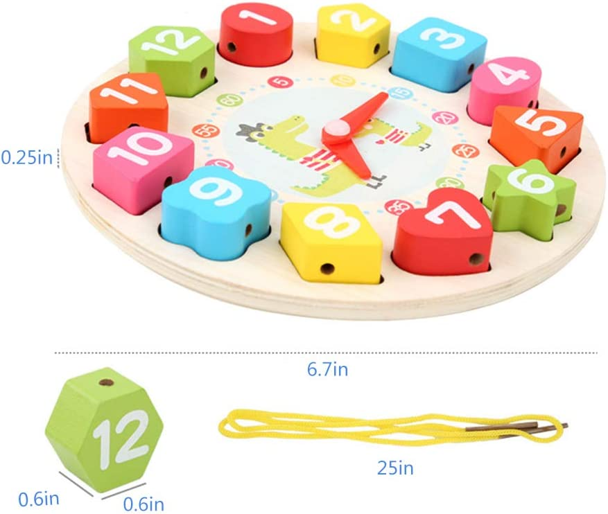 BFYWB Wooden Shape Sorting Clock Teaching Time Blocks Puzzle Montessori Toys Best Education Gifts