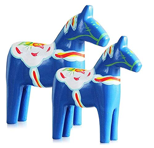 Gwill Set of 2 Red/Blue Europe's Swedish Wooden Dala Horse Figurine, Dalecarlian Horse Ornaments, Color Painting Classical ()